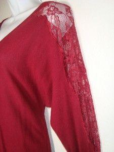 LAUREN CONRAD sz Medium Red Lace Long Sleeve Top Blouse women junior