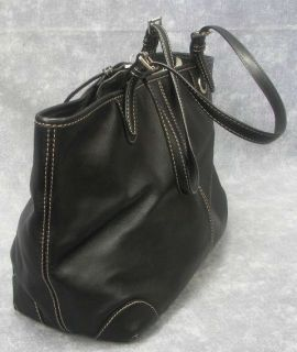 Authentic Michael Kors Soft Black Leather Tote Shopper Handbag