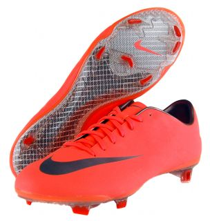 Nike Mercurial Vapor VIII Fg Sz 9.5 Mens Soccer Cleats Mango/Red/Gray