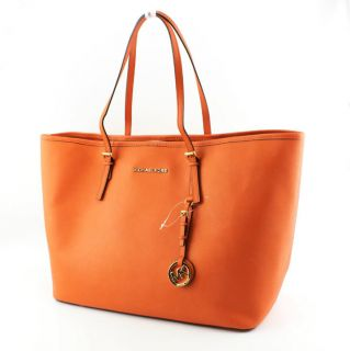 Michael Kors Handbag Jet Set Travel Saffiano Tangerine Tote Purse Bag