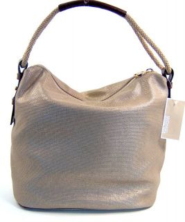 Michael Kors Gold Canvas Marina Large Shoulder Handbag Bag $198