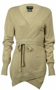 Sutton Studio Womens 100% Cashmere Belted Wrap Sweater Plus 2X Beige