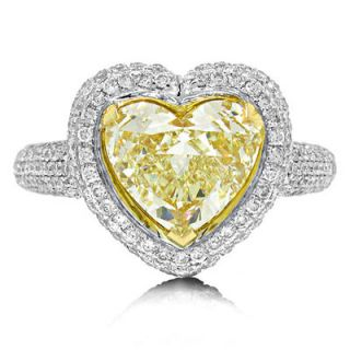 01 Ct Heart Cut Fancy Yellow Diamond Solitaire Engagement Ring 18K