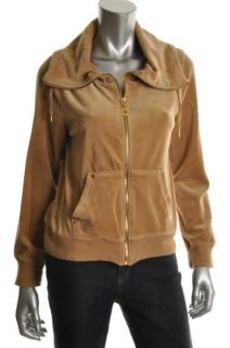 Michael Kors New Tan Velour Ribbed Trim Long Sleeve Hoodie Track