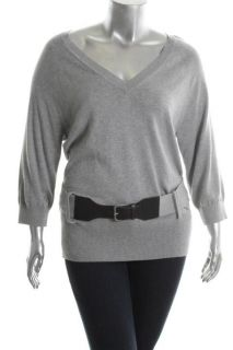 Michael Kors New Gray V Neck 3 4 Sleeve Belted Pullover Sweater Top L