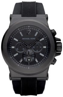 New Authentic Michael Kors Dylan Black Silicone Chronograph Watch