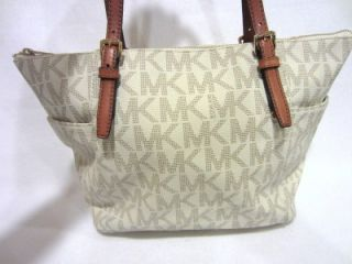 Michael Kors E w MK Signature Top Zip PVC Tote Vanilla Luggage $228