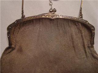 Antique Sterling Silver Flapper 1920s Mesh Purse Handbag 154g grams