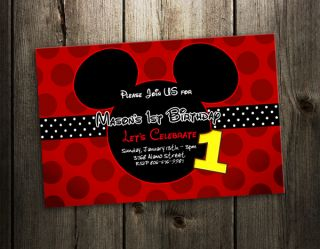 MICKEY MOUSE INVITATION BIRTHDAY PARTY CARD PHOTO RED INVITES F5  9