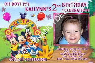 Mickey Mouse Minnie Clubhouse Custom Photo Boy Girl Birthday Party