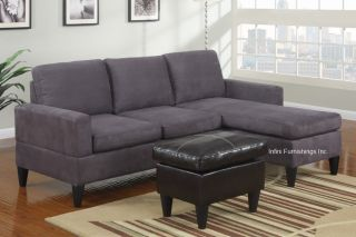 Microfiber Sectional Sofa and Ottoman Set F7285 Couch Furniture
