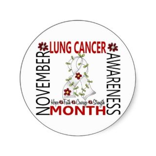 Lung Cancer Awareness Month Flower Ribbon 4 Round Sticker