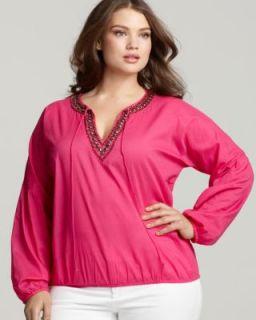 Michael Kors New Pink Long Sleeve Banded Hem Embellished Blouse Top