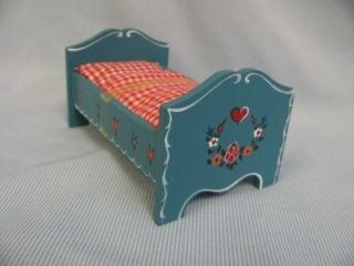 Old Blue Youth Bed c1960 Hand Painted 1 1 Wooden Kuhn w Germany