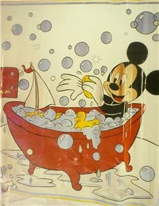 1989 Disney Mickey Mouse Shower Curtain Mickeys Bath Bathroom Still