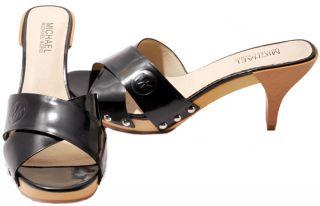 Michael Kors Womens Shoes Black Peanut Sun Leather Gala Mule Heels