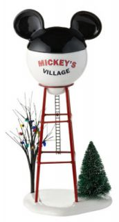 Disney Mickey Mouse Mickeys Village Water Tower Snow Christmas