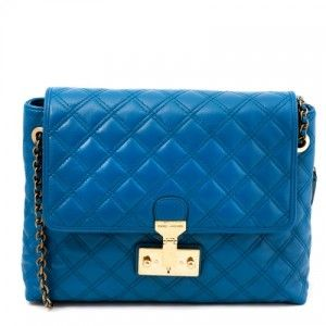 Marc Jacobs Marine Blue Baroque Large Single Quilted Leather Bag Purse