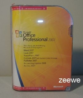 Microsoft Office 2007 Professional Full Retail Version New Box Window