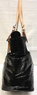 Michael Kors E w Jet Set Python Embossed Black Leather Tote Handbag