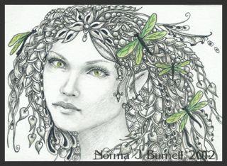 Original ACEO Fantasy Dragonfly Fairy Fairies Sketch Card Wildling NJB