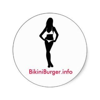 Bikini Burger Round Sticker