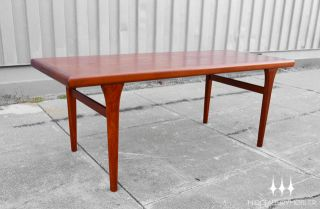 Danish Modern Mid Century Tall Teak Surfboard Coffee Table