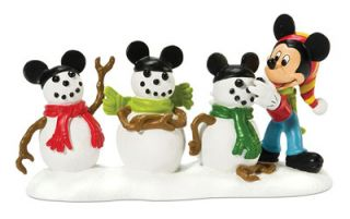 56 Disney Village The 3 Mouseketeers Mickey Mouse & Snowmen Figurines