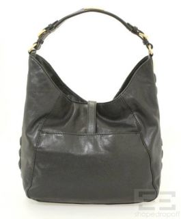 Michael Kors Black Leather Gold Tone Buckle Shoulder Bag