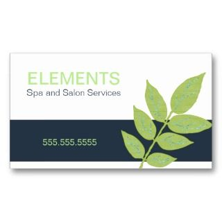 Lime and Navy Business Cards wih Leaves