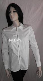 New Michael Kors Petite White Blouse Top Zip Front 8P