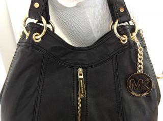 Michael Kors Black Gold Moxley Shoulder Tote Leather Handbag Purse Bag