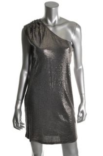 Michael Kors New Silver One Shoulder Sequined Cocktail Dress XL BHFO