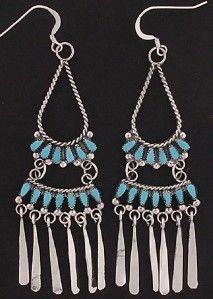 Milburn Dishta Zuni Petit Point Turquoise Chandelier Earrings Sterling