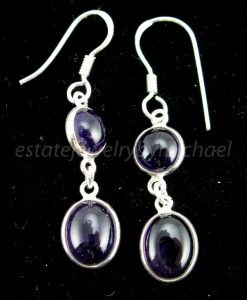 Estate Sterling Silver 7 44ctw African Amethyst Dangle French Wire