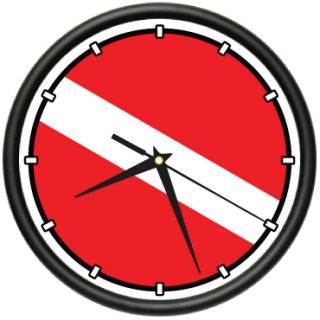 Scuba Diving Flag Wall Clock Diver Dive Fins Mask Tusa