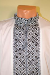 RARE Ukrainian Handmade Hand Embroidered Men Shirt Vyshyvanka XL Grey