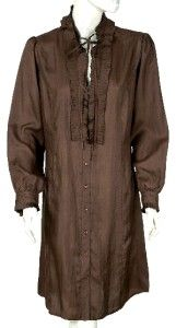 New $429 Day Birger Et Mikkelsen Ruffle Brown Silk Tunic Shirt Dress
