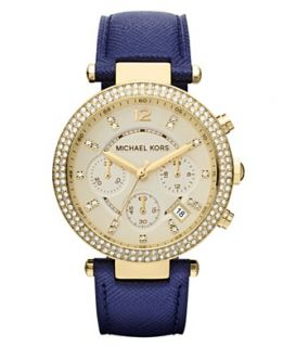 Michael Kors Watch, Womens Chronograph Parker Navy Leather Strap 39mm