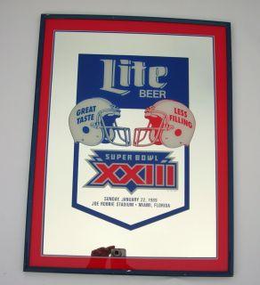 Vintage Miller Lite Beer Bar Mirror 22x17 Super Bowl