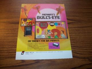 1972 Midway Bulls Eye Arcade Wall Game Flyer Brochure