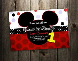 MICKEY MOUSE BIRTHDAY PARTY INVITATION PHOTO 1ST CUSTOM INVITES F2  9