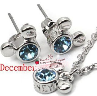 Girls Gift Disney Mickey Mouse Stud Earrings Necklace Set Birthstone