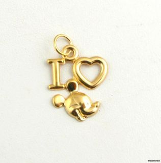 Mickey Mouse Pendant   Solid 14k Yellow Gold I Heart Mickey Fashion