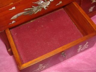 Big Wood Musical Jewelry Music Box Mother of Pearl Inlay Bird Flower