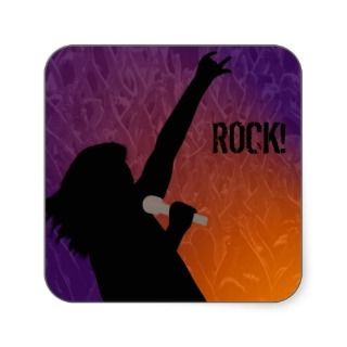 Rock Singers silhouette With a Crowd Square Sticker
