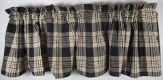 Primitive Country Black Tan Plaid Millbury Cotton Valance 72x14