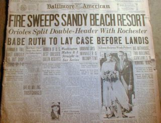 1925 Headline Newspaper Babe Ruth Protests $5 000 Fine by NY Yankees