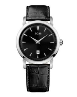 Hugo Boss Watch, Mens Black Leather Strap 1512635   All Watches