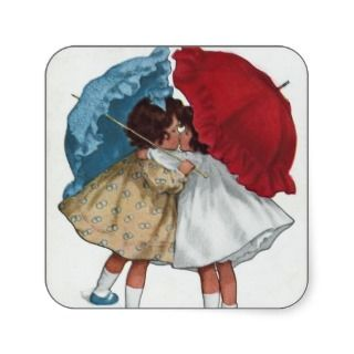 Two Little Girls Kissing under Umbrella Stickers